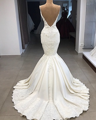 Spaghetti Straps Lace Mermaid Wedding Dresses Overskirt |  Appliques Detachable Satin Backless Bridal Gowns 2019 BC0776_4