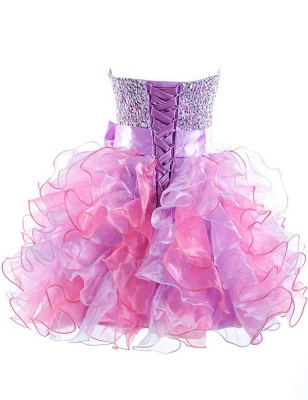 Colorful Sweetheart Organza Homecoming Dresses Sequined Lace-Up Cocktail Dresses_2