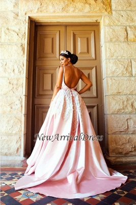Puffy Lace-Applique Spaghetti-Straps Long Romantic Court Train Prom-Dresses_3