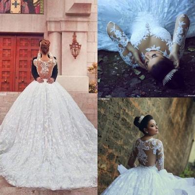 Long Sleeve Ball Gown Wedding Dress Cheap Court Train Custom Made Bridal Gowns_5