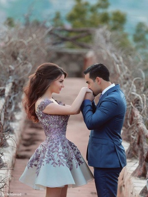 Gorgeous Off the Shoulder Lace Appliqeus Short Prom Dresson Sale_3