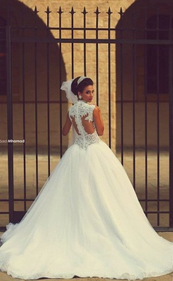 Sweetheart Cap Sleeve Puffy Tulle Wedding Dresses | Appliques Court Train Vintage Bridal Gowns_3