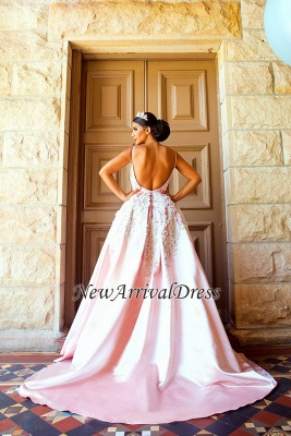 Puffy Lace-Applique Spaghetti-Straps Long Romantic Court Train Prom-Dresses_4