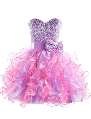 Colorful Sweetheart Organza Homecoming Dresses Sequined Lace-Up Cocktail Dresses_1