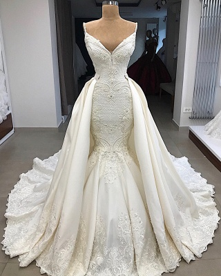 Spaghetti Straps Lace Mermaid Wedding Dresses Overskirt |  Appliques Detachable Satin Backless Bridal Gowns 2019 BC0776_6