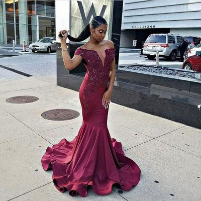 Modern Burgundy Beads Mermaid Prom Dress | Cap Sleeve Prom Dress BA8541_3