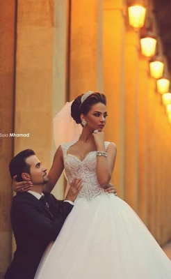 Sweetheart Cap Sleeve Puffy Tulle Wedding Dresses | Appliques Court Train Vintage Bridal Gowns_5