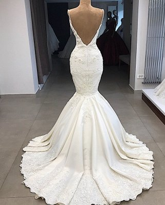 Spaghetti Straps Lace Mermaid Wedding Dresses Overskirt |  Appliques Detachable Satin Backless Bridal Gowns 2020 BC0776_4