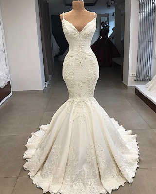 Spaghetti Straps Lace Mermaid Wedding Dresses Overskirt |  Appliques Detachable Satin Backless Bridal Gowns 2020 BC0776_5