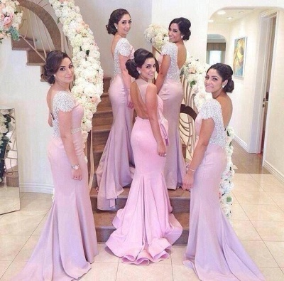 Sexy Beadings Crystals Long Bridesmaid Dresses BacklessCap Sleeves Floor Length Style_3