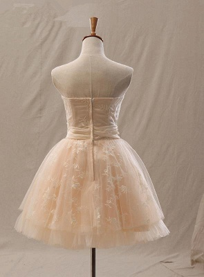 Elegant A-Line Mini Sweetheart Lace Homecoming Dresses with Crystal_2
