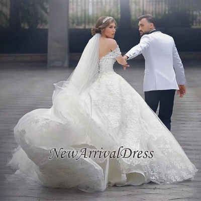 Arabic Off The Shoulder Sweetheart Lace-Up-Back Custom Made Ball Gown Wedding Dresses Cheap_1