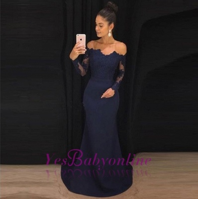 Long Sleeve Navy Blue Formal Dresses   Cheap Lace Long Prom Dresses_1