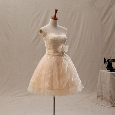 Elegant A-Line Mini Sweetheart Lace Homecoming Dresses with Crystal_3
