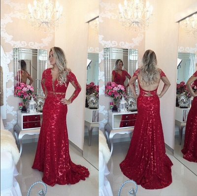 Glamorous Red Mermaid Sequins Prom DressLace Appliques Backless_2
