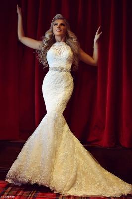 High Neck Beading Mermaid Wedding Dress Cheap Crystalss Belt Custom Made Court Train Bridal Gowns_1