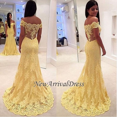 Yellow Mermaid Lace Off-the-Shoulder Prom Dresses_4