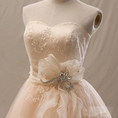 Elegant A-Line Mini Sweetheart Lace Homecoming Dresses with Crystal_4