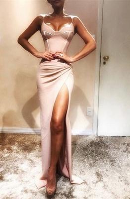 Sexy Spaghetti Strap Mermaid Sleeveless Evening Dress | Front Split Evening Gown_1