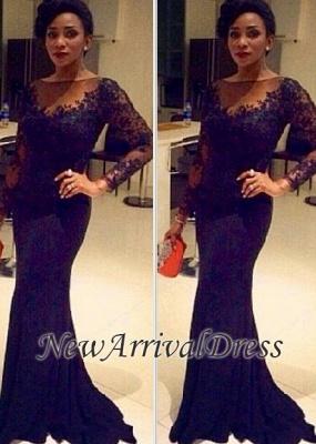 Elegant Sheer Lace Long-Sleeve Mermaid Black Evening Gown CC0042_3