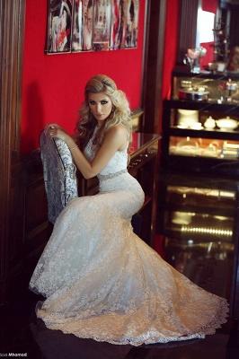 High Neck Beading Mermaid Wedding Dress Cheap Crystalss Belt Custom Made Court Train Bridal Gowns_5