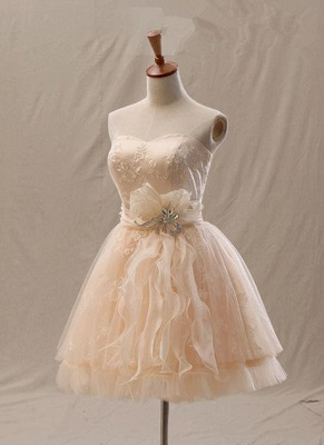 Elegant A-Line Mini Sweetheart Lace Homecoming Dresses with Crystal_1
