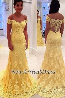 Yellow Mermaid Lace Off-the-Shoulder Prom Dresses_5