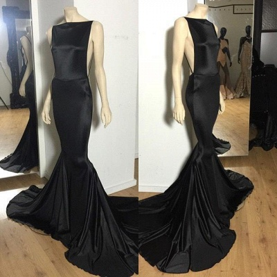 Long Prom Dresses Cheap Black Open Back Bateau Neck Spaghettis Court Train Mermaid Evening Gowns_2
