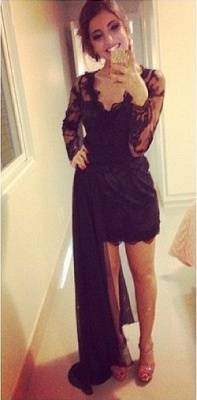 Black Lace Short Long Sleeves Prom Dresses with Detachable train Evening Gowns_1