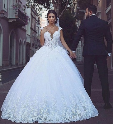 Sleeveless Puffy Tulle Ball Gown Wedding Dresses | Sexy Straps Lace Appliques Bridal Gowns_3