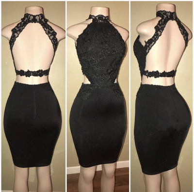 Black Long Prom Dresses Cheap | Open Back Lace Semi Formal Dress BA8580_3