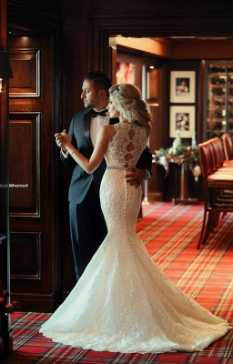 High Neck Beading Mermaid Wedding Dress Cheap Crystalss Belt Custom Made Court Train Bridal Gowns_4