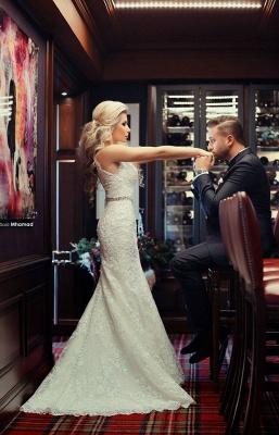 High Neck Beading Mermaid Wedding Dress Cheap Crystalss Belt Custom Made Court Train Bridal Gowns_3