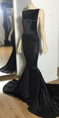 Long Prom Dresses Cheap Black Open Back Bateau Neck Spaghettis Court Train Mermaid Evening Gowns_1