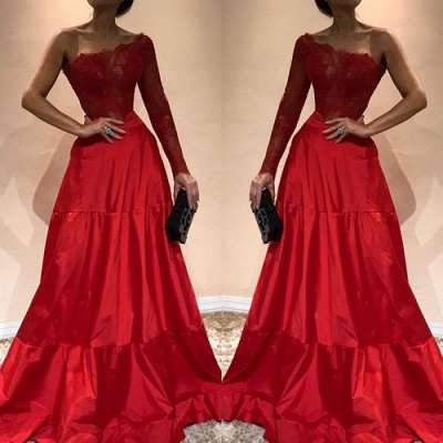 Gorgeous One-ShoulderEvening Dress | Lace Red Prom Party Gowns_3
