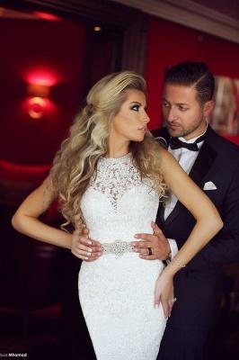 High Neck Beading Mermaid Wedding Dress Cheap Crystalss Belt Custom Made Court Train Bridal Gowns_2