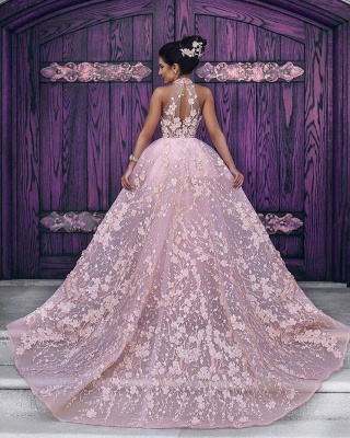 Lace-Appliques Halter Sleeveless Pink Glamorous Evening Dress_3