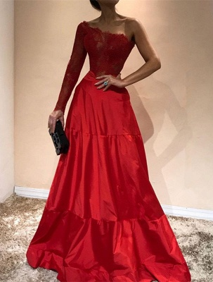 Gorgeous One-ShoulderEvening Dress | Lace Red Prom Party Gowns_1