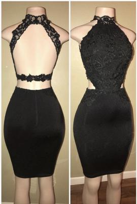Black Long Prom Dresses Cheap | Open Back Lace Semi Formal Dress BA8580_1