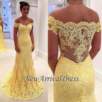 Yellow Mermaid Lace Off-the-Shoulder Prom Dresses_3