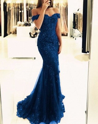 Red Off-the-shoulder Lace Appliques Mermaid Glamorous Evening Dress_4