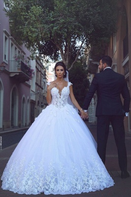 Sleeveless Puffy Tulle Ball Gown Wedding Dresses | Sexy Straps Lace Appliques Bridal Gowns_2