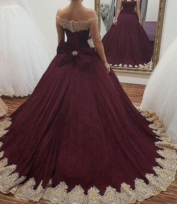 Glamorous Off the Shoulder Bowknot Burgundy Gold Ball Gown Fromal Prom Dresses_3
