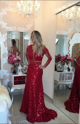 Glamorous Red Mermaid Sequins Prom DressLace Appliques Backless_1