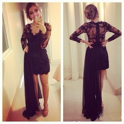 Black Lace Short Long Sleeves Prom Dresses with Detachable train Evening Gowns_2