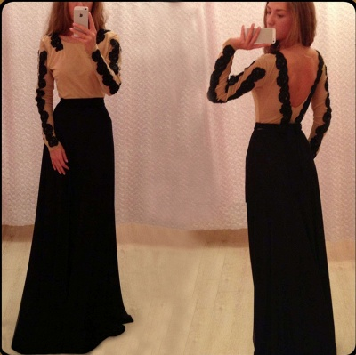 New Arrival Prom Dresses Black Lace Appliques Chiffon Backless Floor Length Sexy Long Sleeves Evening Gowns_4