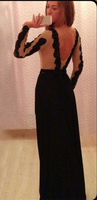 New Arrival Prom Dresses Black Lace Appliques Chiffon Backless Floor Length Sexy Long Sleeves Evening Gowns_3