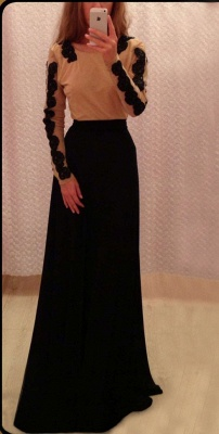 New Arrival Prom Dresses Black Lace Appliques Chiffon Backless Floor Length Sexy Long Sleeves Evening Gowns_1