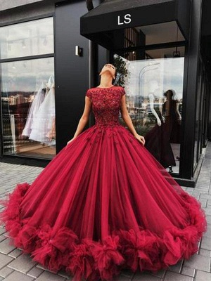 Short Sleeves Burgundy Ball Gown Luxury Scoop Prom Dresses_3