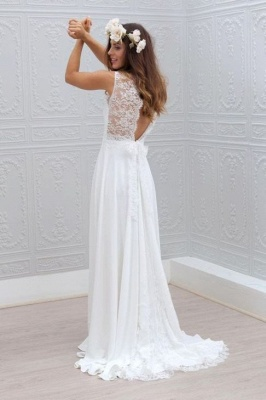 Sleeveless V-Neck Bowknot Chiffon Lace Appliques Simple Summer Beach Wedding Dresses Cheap_3